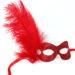 red glitter masquerade mask with feathers and diamante