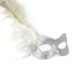 silver glitter masquerade mask with feathers and diamante 2