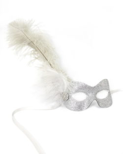 silver glitter masquerade mask with feathers and diamante