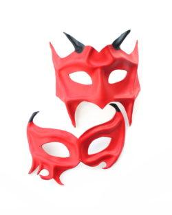 couples handmade red leather demon devil masquerade masks