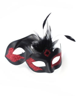 couples matching vanity black and red venetian masquerade mask a