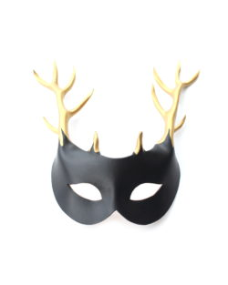 female black and gold handmade leather stag deer mask