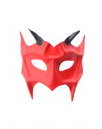 mens handmade horned red demon devil leather masquerade mask