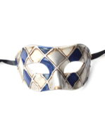mens venetian blue silver checkers harlequin mask