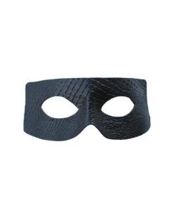 Men's Black Leather Python Snakeskin print zorro eye masquerade mask
