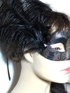 Black Metallic Gold Elegant Feather Venetian Mask UK