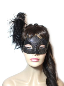 Black Metallic Gold Elegant Feather Venetian Mask UK