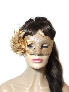 Gold Floral Bronze Glitter Venetian Mask UK