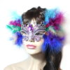 Unique multicoloured feather jewelled silver butterfly mask UK