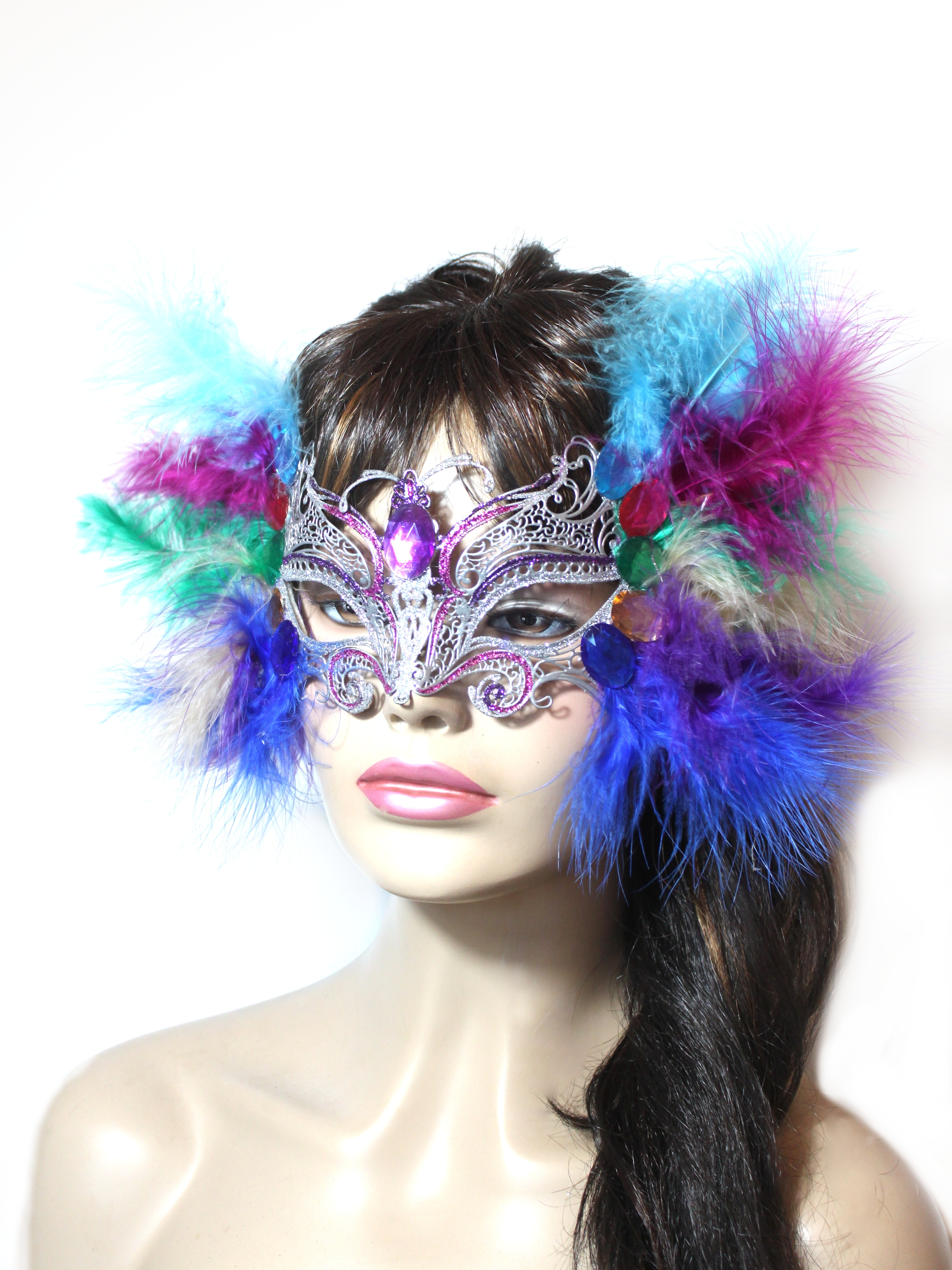 Silver Brand New Mardi Gras Masquerade Venetian Butterfly Mask