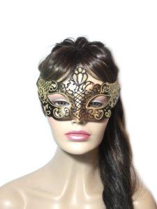 Regal Black Gold Venetian Mask Womens UK