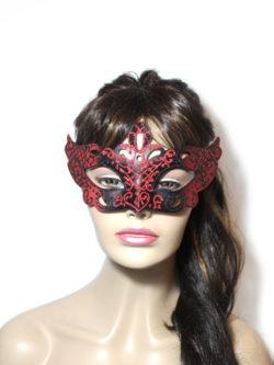 Regal Black Red Venetian Mask Womens UK