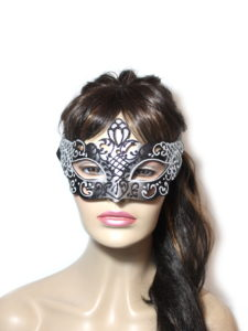 Regal Black Silver Venetian Mask Womens UK