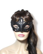 Women's Regal Black Venetian Mask front