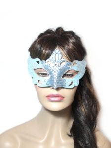 Regal Ice Blue Venetian Masquerade Mask UK