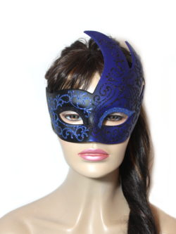 Royal Black Blue Swan Venetian Mask UK