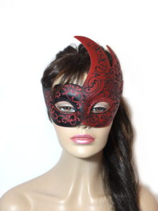 Royal Black Red Swan Mask UK