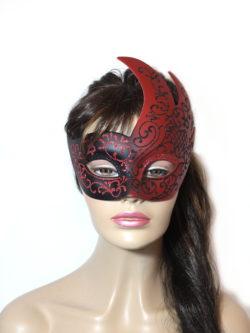 Royal Black Red Swan Mask UK