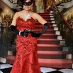 red black Swarovski crystal masquerade mask
