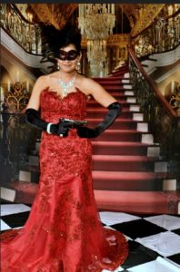 red black Swarovski crystal masquerade mask